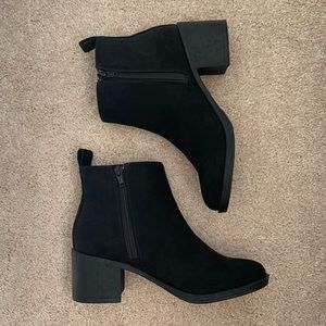 Black Faux-Suede Booties